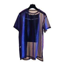 € 16.37 |2 unids/set Sexy malla transparente holográfica Tops Tee mujer 2018 moda camisón azul transparente Camiseta de manga corta brillante camisa túnica-in Camisetas from Ropa de mujer on Aliexpress.com | Alibaba Group
