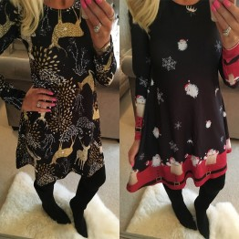 US $11.12 49% OFF|Winter Casual New Year Christmas Mini Dress Women Long Sleeve Floral Plus Size Dress Clothes Femme O neck Ladies Dresses-in Dresses from Women's Clothing on Aliexpress.com | Alibaba Group