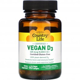Country Life, Vegan D3, 125 mcg (5,000 IU), 60 Vegan Softgels