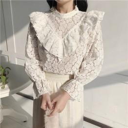 1124.47 руб. 40% СКИДКА|Сексуальная белая кружевная Цветочная блузка с рюшами, рубашка, открытая сетчатая прозрачная блузка, женская блузка с длинным рукавом, топы feminino-in Блузки и рубашки from Женская одежда on Aliexpress.com | Alibaba Group