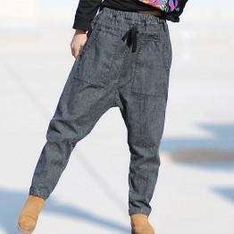2357.45 руб. 40% СКИДКА|Брюки шаровары женские хлопок 2018 с высокой талией свободные женские брюки Плюс Размер повседневные джинсы для женщин корейский стиль до щиколотки брюки купить на AliExpress