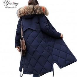 1648.99 руб. 15% СКИДКА|2018 зимняя куртка женская цветная Большая Меховая с капюшоном толстая пуховая парка Длинная женская куртка пальто тонкая теплая зимняя верхняя одежда 927 купить на AliExpress