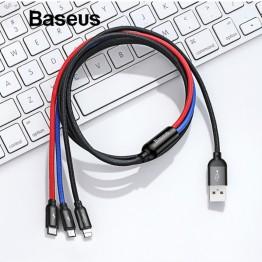 270.76 руб. 20% СКИДКА Baseus 3 в 1 USB кабель для мобильного телефона кабель с разъемом Micro USB Type C для зарядки для iPhone зарядный кабель Micro USB зарядное устройство Шнур купить на AliExpress