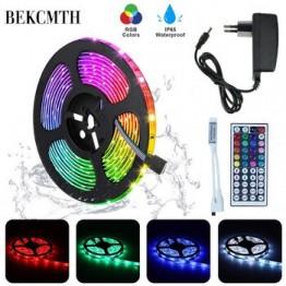 BEKCMTH RGB Светодиодная лента SMD2835 5050 5 м 10 м водонепроницаемая лента RGB DC12V лента Диодная Светодиодная лента лампа с ИК-пультом дистанционного уп...