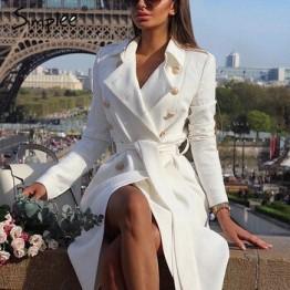 Simplee Vintage двубортный белый длинный  плащ двубортный белый длинный  плащ для женщин тонкий  плащ   офис сплошной плащ платье