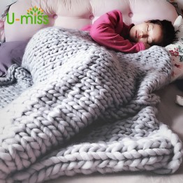 US $26.99  U miss Fashion Hand Chunky Wool Knitted Blanket Thick Yarn Merino Wool Bulky Knitting Throw Blankets DropShipping 200X200CM-in Blankets from Home & Garden on Aliexpress.com   Alibaba Group
