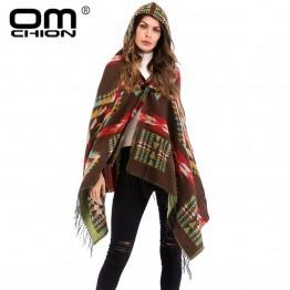 US $15.95 40% OFF|OMCHION Hooded Tassel Poncho Women 2018 Autumn Grometric Retro Sweater Jacket Casual Loose Plus Size Knitwear Cloak Coat LMM215-in Cloak from Women's Clothing on Aliexpress.com | Alibaba Group