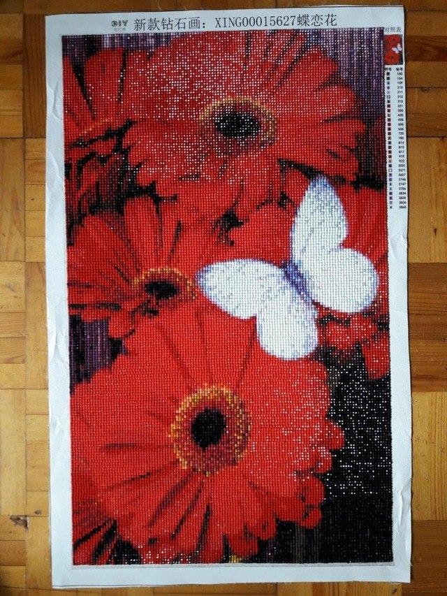 Алмазная вышивка Красные герберы с бабочкой - отзывы
