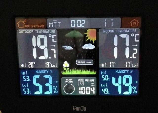 FanJu FJ3365 Метеостанция с цветным дисплеем и беспроводным датчиком. Цифровой термометр, барометр.