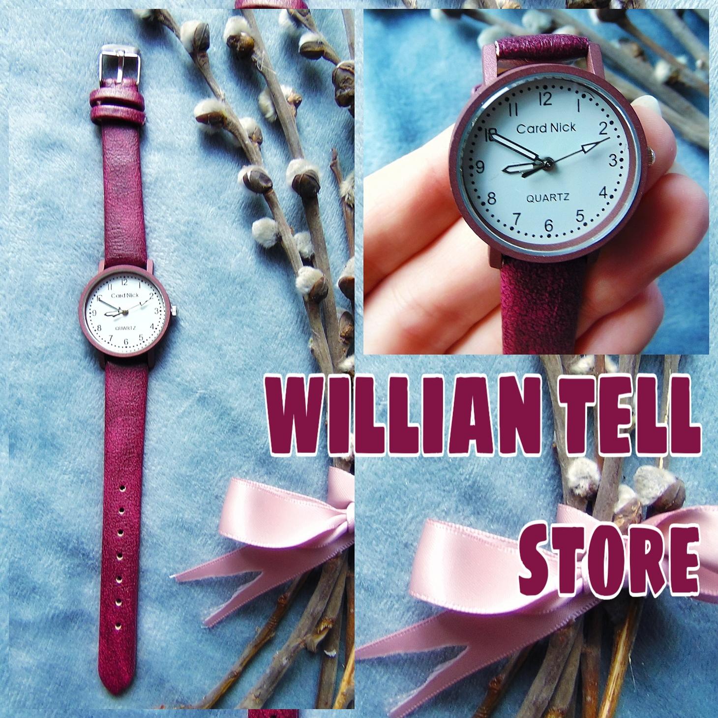 Очень стильные часики на кожаном ремешке цвета спелой вишниМагазин: WILLIAN TELL store