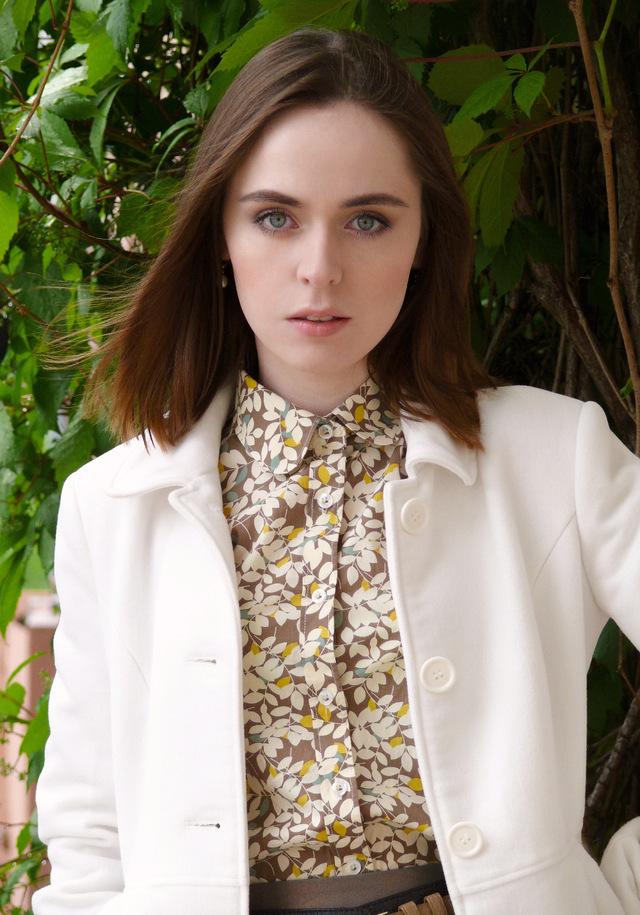 Рубашка цвета Taupe с лиственным орнаментом