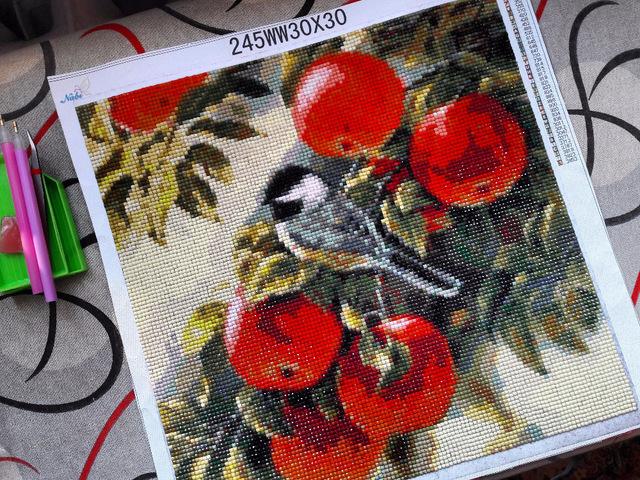 Алмазная вышивка Синичка в яблоках