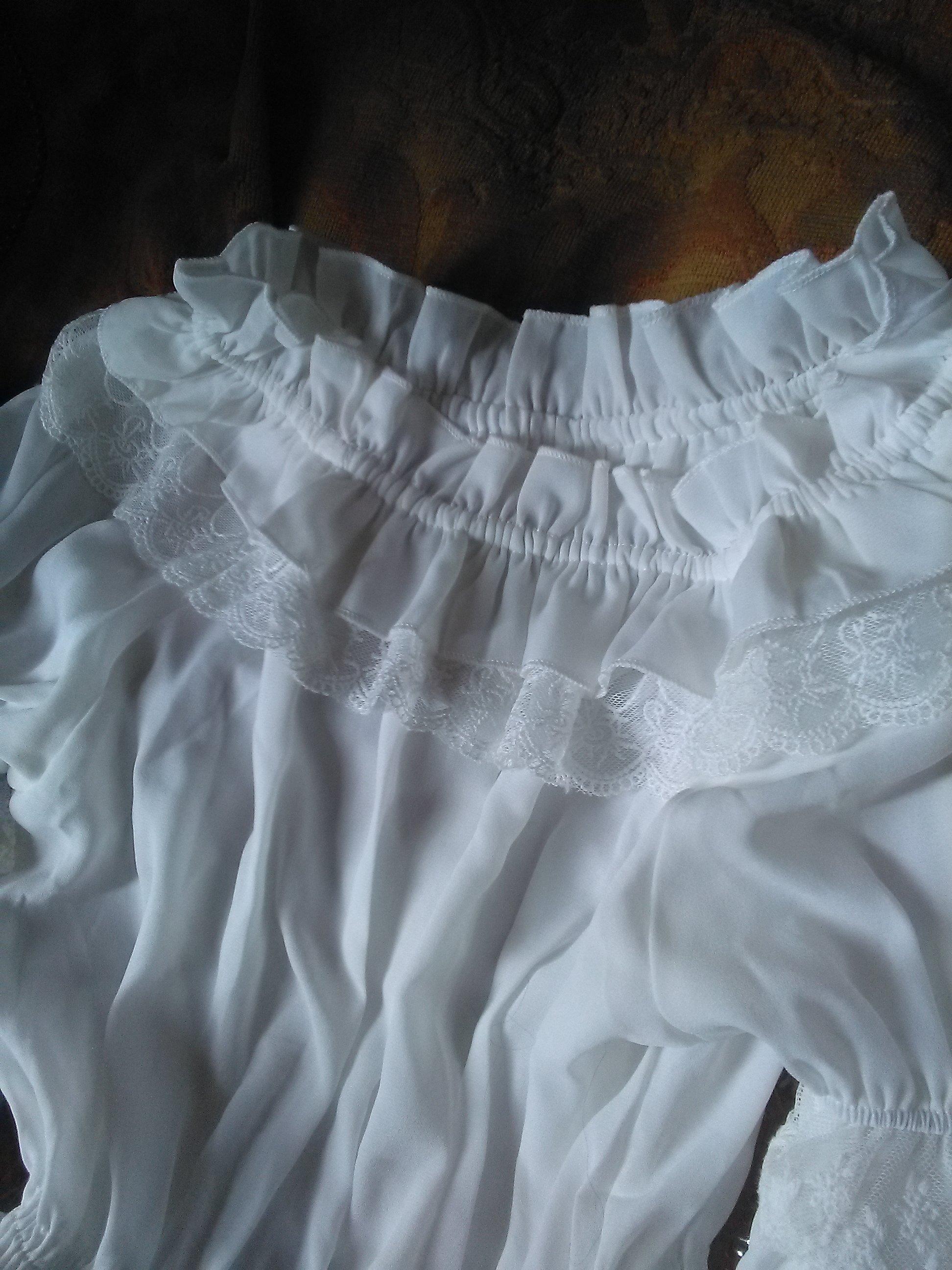 Белая шифоновая блуза с широкими рукавами и кружевом в венецианском стиле от LoliGals Lolita Store. - инструкция