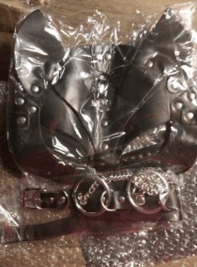 Сексуальная кожаная маска и ошейник - купить