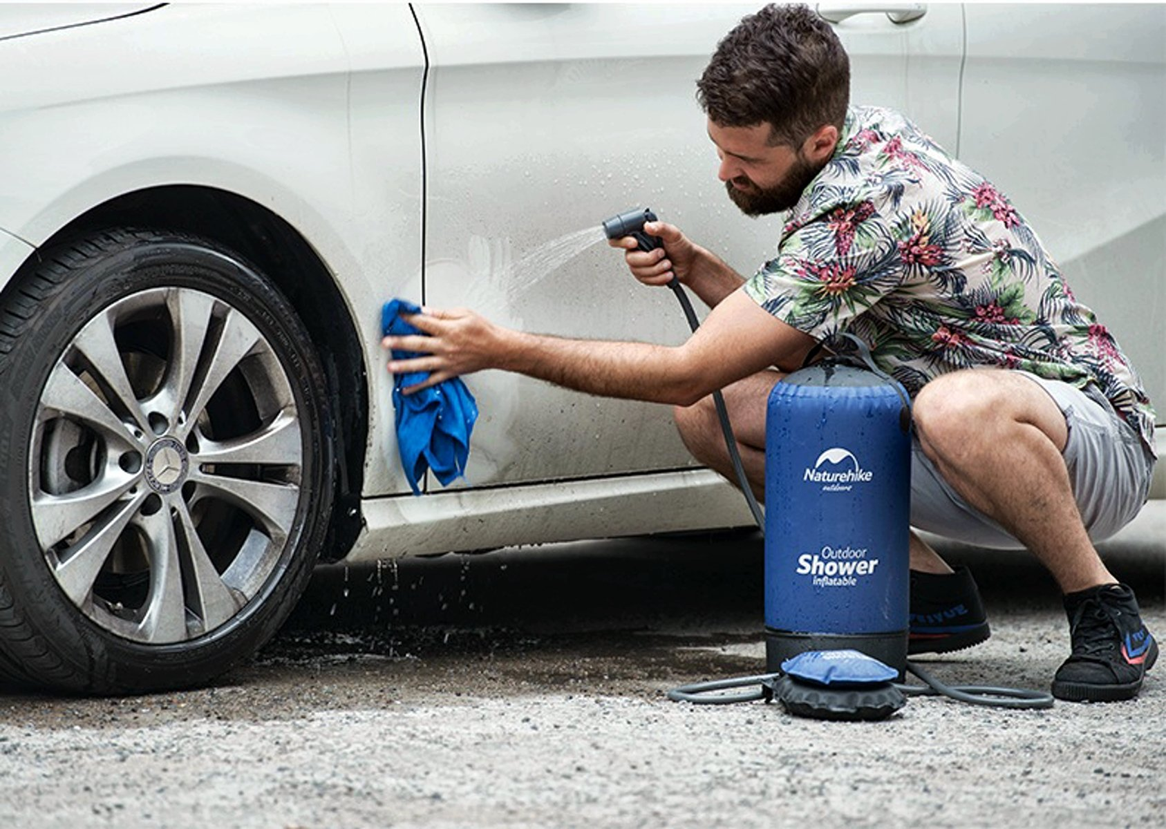 Переносной, мобильный, портативный, надувной душ. Мойка ручного давления для мойки авто.