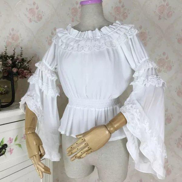 Белая шифоновая блуза с широкими рукавами и кружевом в венецианском стиле от LoliGals Lolita Store. - отзывы