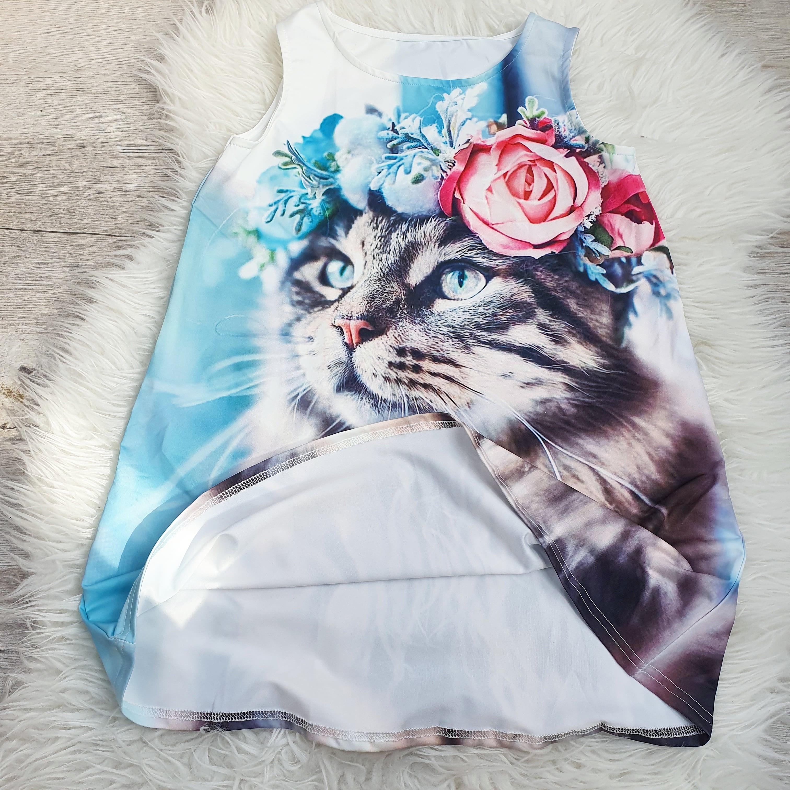 Чудесное платье с изображением котика. - фото