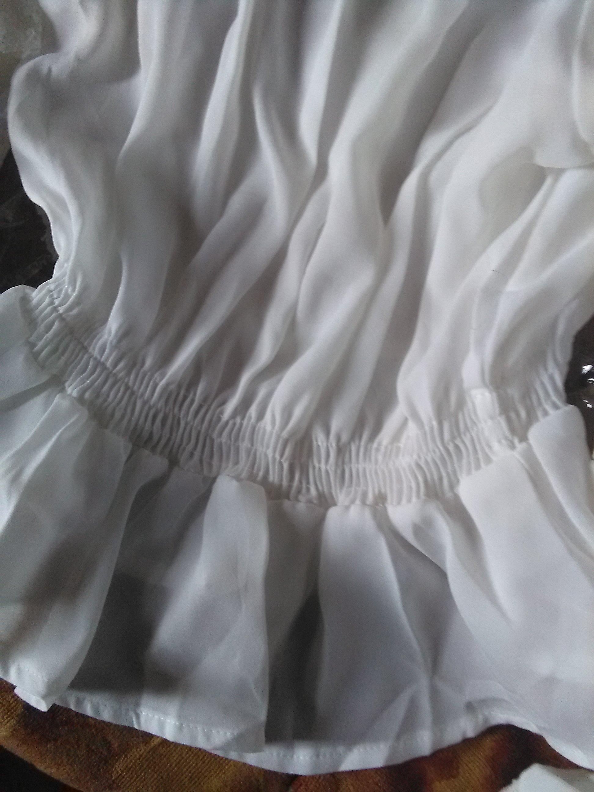 Белая шифоновая блуза с широкими рукавами и кружевом в венецианском стиле от LoliGals Lolita Store. - магазин