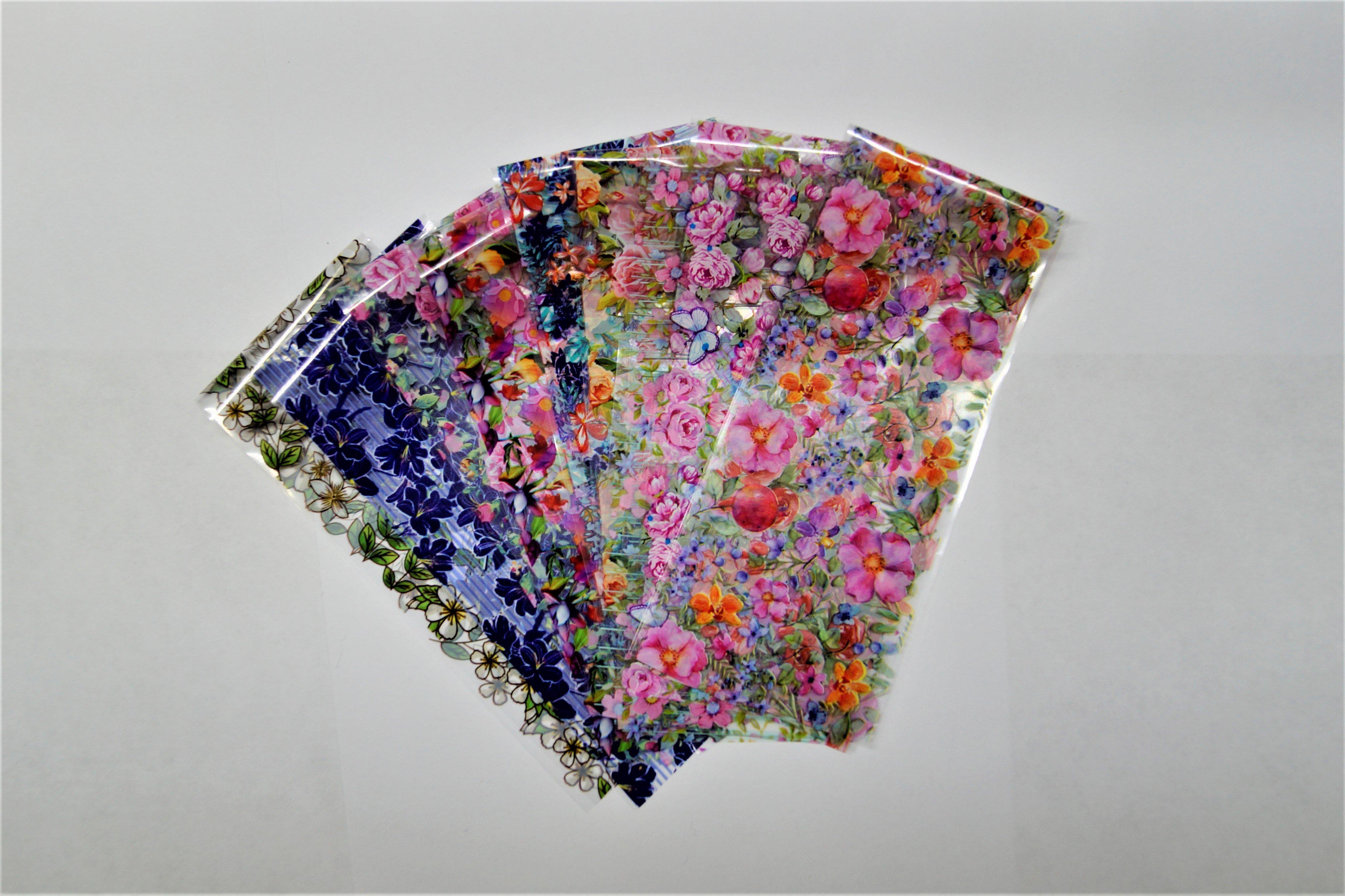 Красивые цветочные наклейки для ногтей