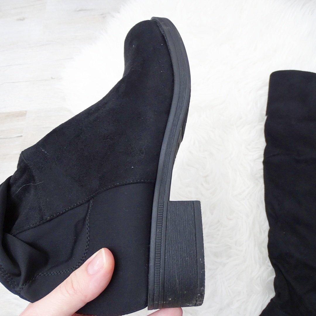 Замшевые сапоги-ботфорты