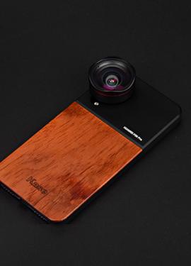 Деревянный чехол на телефон и объектив-прищепка