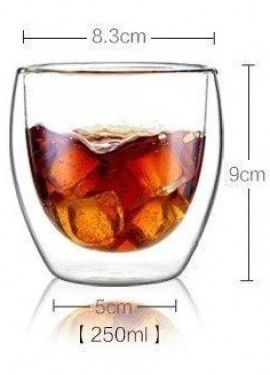 250ml Heat Resistant Double Wall Glass.