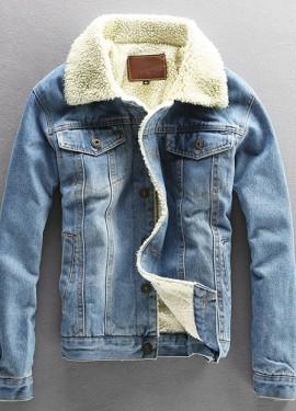 Мужская джинсовая куртка с подкладом под овечий мех