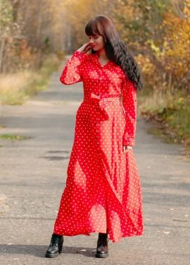 Красное платье в горох  NAGODO
