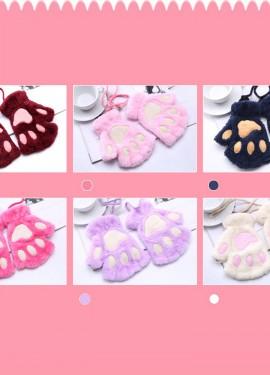 Женские милые пушистые плюшевые перчатки