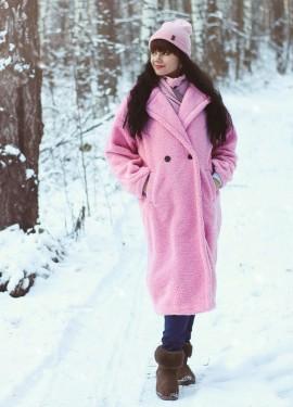Розовое плюшевое пальто NAGODO