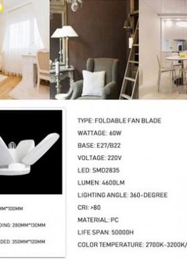 60W Foldable Fan Blade LED Pendant Lights.