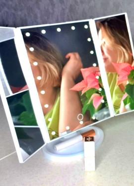 Складное зеркало с подсветкой и увеличением