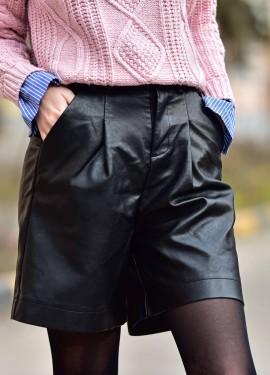 Кожаные шорты-бермуды REALEFT