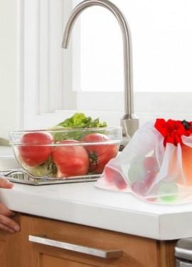 Многоразовые сетчатые сетки. Для хранения продуктов, фруктов, овощей, игрушек, мелочей. 12 штук.