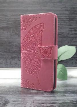 Красивый Розовый чехол-книжка для Xiaomi Redmi 6 с рисунком бабочки!