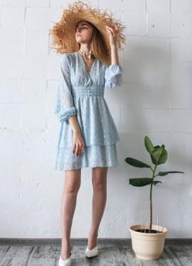 Легкое небесное платье на лето с Алиэкспресс