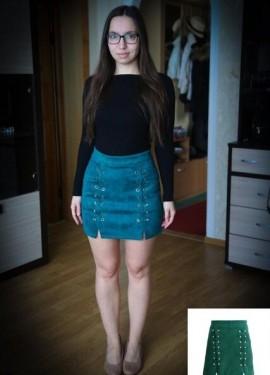 Замшевая юбка на шнуровке с высокой талией