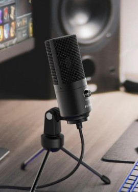 Конденсаторный настольный  микрофон Fifine, USB-микрофон для YouTube и прямых трансляций в Skype.