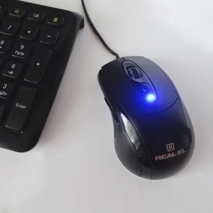 Компьютерная мышь Real-EL RM-290. Очень бюджетная и при этом удобная мышь.
