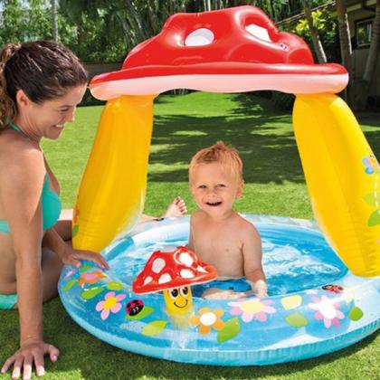 Красочный игровой детский бассейн с навесом от солнца
