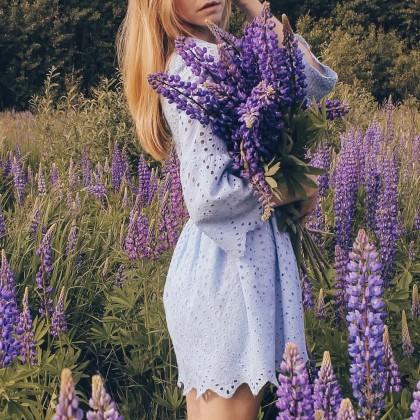 Голубое платье с перфорацией с Алиэкспресс
