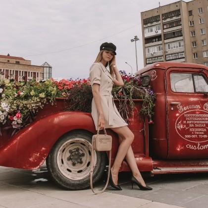 Платье-пиджак в нюдовом цвете с Алиэкспресс
