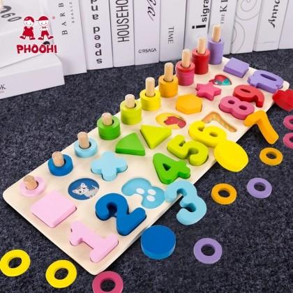 Развивающая игрушка Монтессори - цифры, формы, цвета, счёт. АлиЭкспресс.