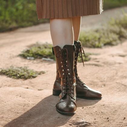 Крутые сапожки на шнуровке  NAKKESHMEN