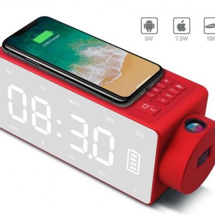 Bluetooth колонка с беспроводным зарядным устройством для телефона часы/будильник