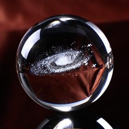 Миниатюрный глобус галактики  в хрустальном шаре. Оригинальный подарок.