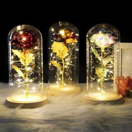Красная роза в стеклянном куполе на деревянной основе. Лучший подарок.