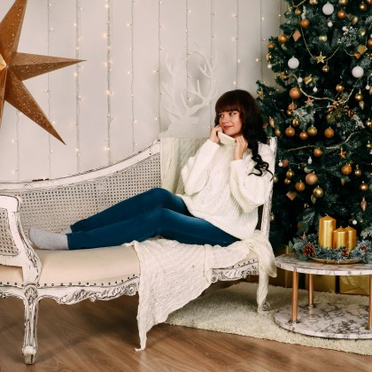 Уютный белый свитер Xiaoxiao