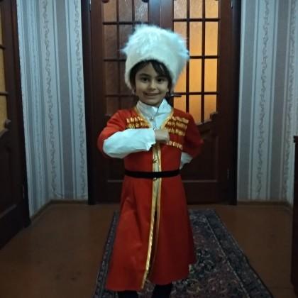 костюм для лезгинки, для мальчика: папаха, черкеска,цвет красный