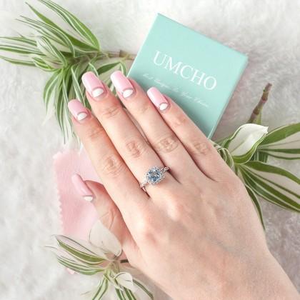 Серебряное кольцо с топазом Umcho с AliExpress